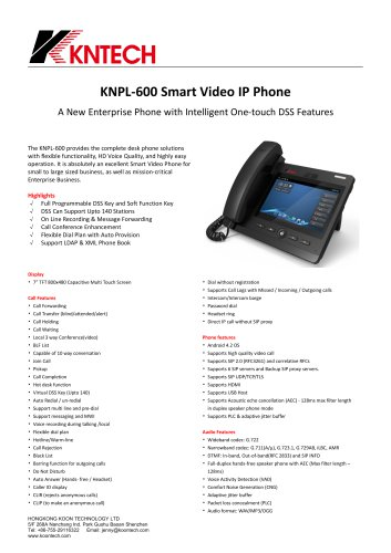 KNPL600 Smart video IP phone