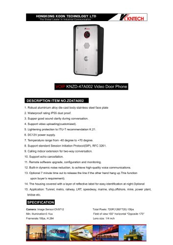 Robust video intercom Product model:KNZD-47A