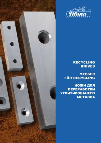 Catalogue of knives for shearing and recycling of metal and non-metal scarp