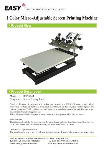1 Color Micro-Adjustable Screen Printing Machine