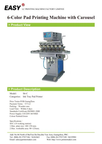 6-Color Pad Printing Machine with Carousel