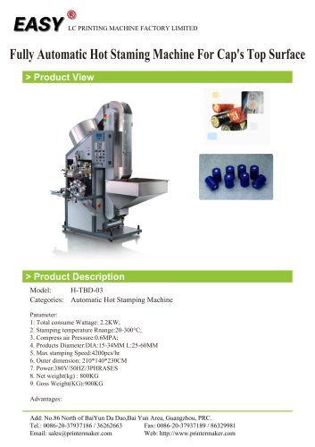 Auto Hot Stamping Machine: Fully Automatic Hot Staming Machine For Caps Top Surface
