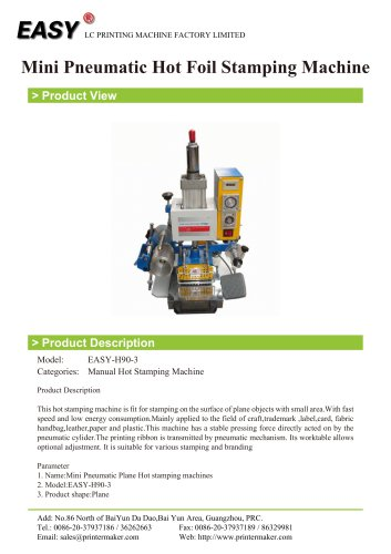 Manual Hot Stamping Machine: Mini Pneumatic Hot Foil Stamping Machine