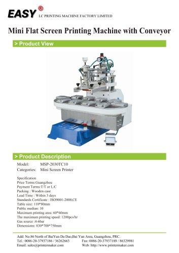 Mini Flat Screen Printing Machine with Conveyor