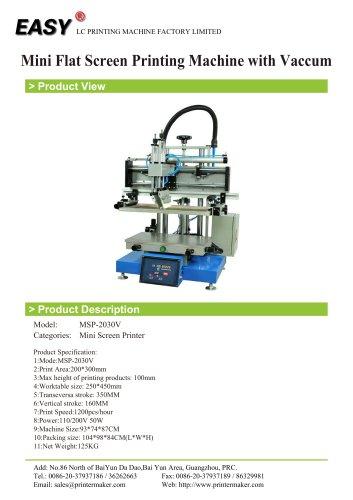 Mini Flat Screen Printing Machine with Vaccum