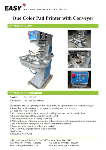 One Color Pad Printer with Conveyer