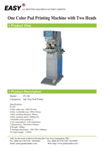 One Color Pad Printing Machine with Two Heads