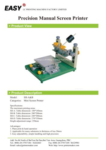 Precision Manual Screen Printer