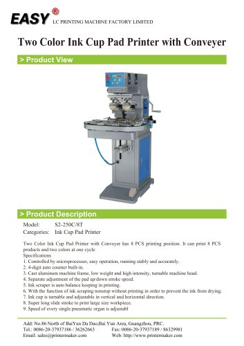 Two Color Ink Cup Pad Printer with Conveyer