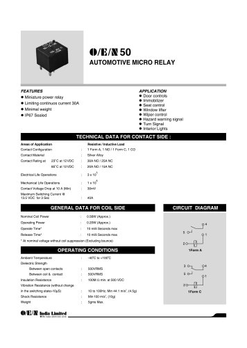 Series 50 low profile automotive power relay