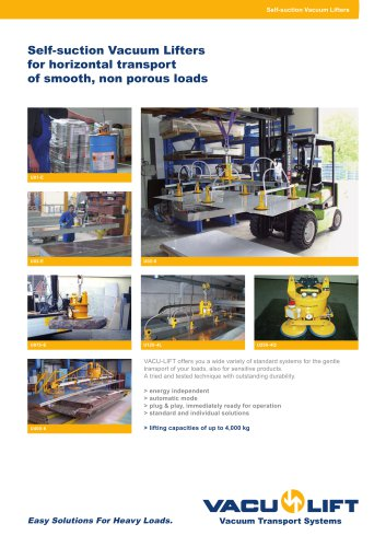 Self-suction Vacuum Lifters for horizontal transport  of smooth, non porous loads