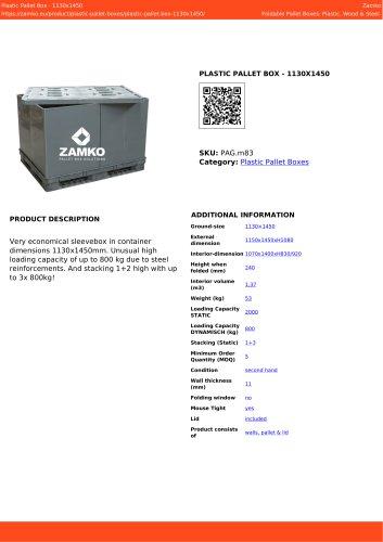 PLASTIC PALLET BOX - 1130X1450