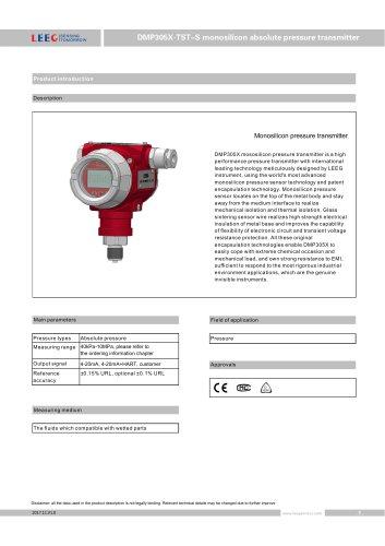 Absolute pressure transmitter DMP305X-TST-S