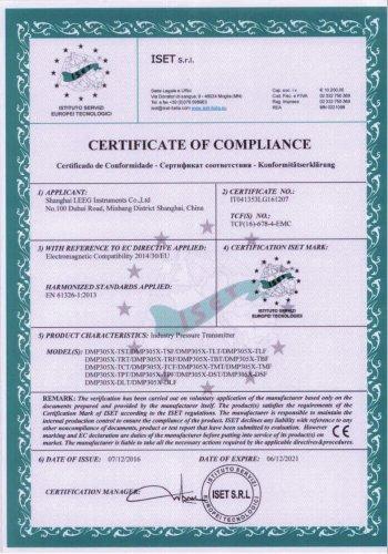CE certificate -LEEG DMP305X Monosilicon pressure transmitter