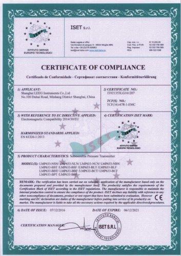 CE certificate -LEEG LMP633 level transmitter