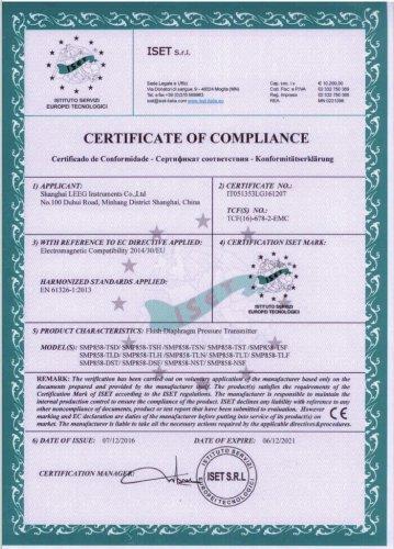 CE certificate -LEEG SMP858 sanitary pressure transmitter
