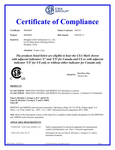 CSA Certificate for Pressure transmitters -LEEG Instruments