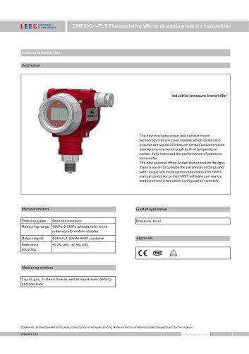 DMP305X-TLT absolute pressure transmitter