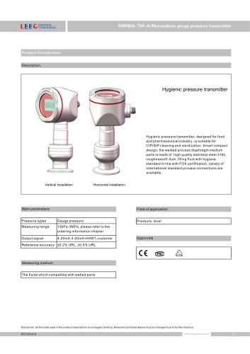 High Stability Clamp on Diaphragm Pressure Transmitter SMP858-TSF-H