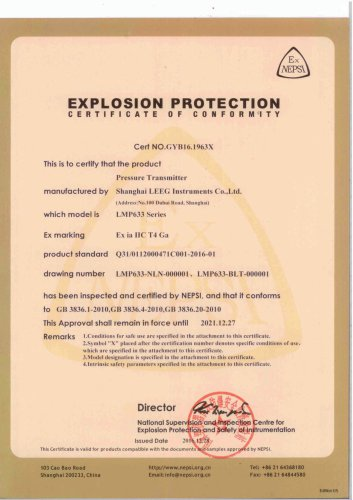 Intrinsic safety certificate for LMP633 submersible pressure transmitter