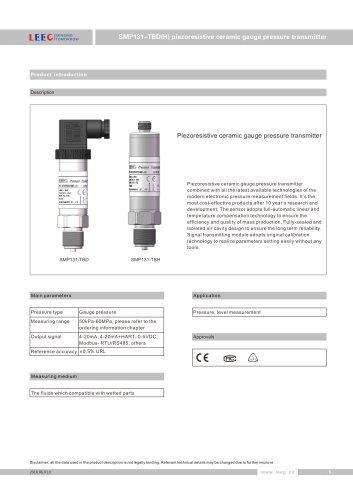 LEEG ceramic gauge pressure sensor SMP131-TBD catalogue