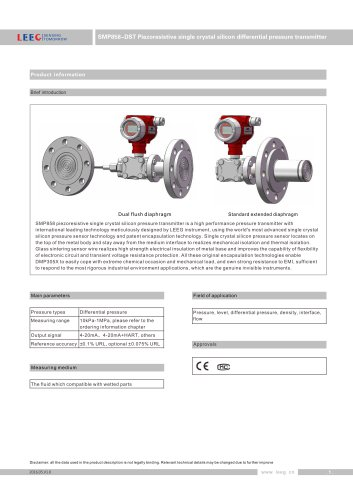 LEEG direct mounting diaphragm differential pressure transducer for chemical