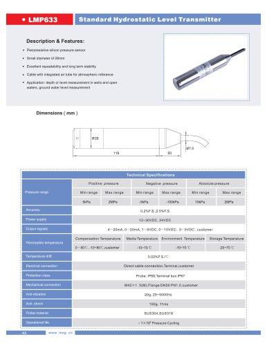 LEEG hydrostatic level sensor transmitter series