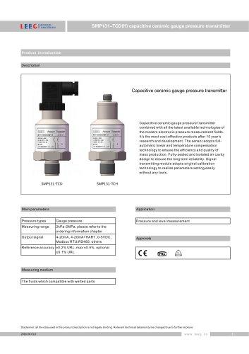 LEEG Instruments ceremic pressure sensor for corrosive liquid and gas SMP131-TCD datasheet