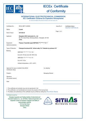 LEEG Instruments  IECEx certificate for DMP305X pressure transmitter