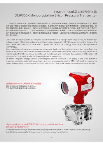 LEEG pressure transmitter for process industry DMP305X series catalogue