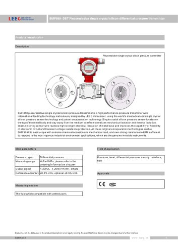 LEEG Remote seal diaphragm differential pressure transmitter for chemical industry SMP858-DST