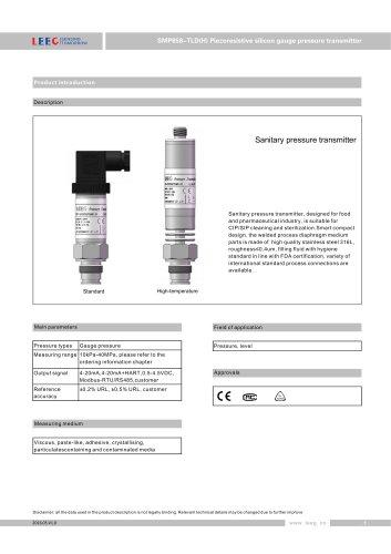 LEEG SMP858-TLD(H) Piezoresisitive silicon flush diaphragm gauge pressure transmitter datasheet