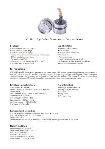 LG190H diffused silicon piezoresistive pressure sensor