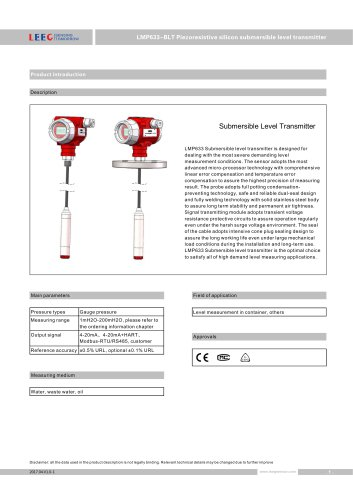 LMP633-BLT submersible level transmitter with lcd display