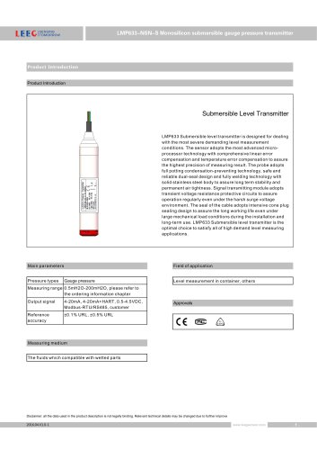 LMP633-NSN-S high stability submersible level transmitter