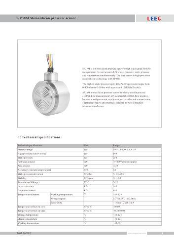 Multivariable Differential Pressure Sensor SP38M