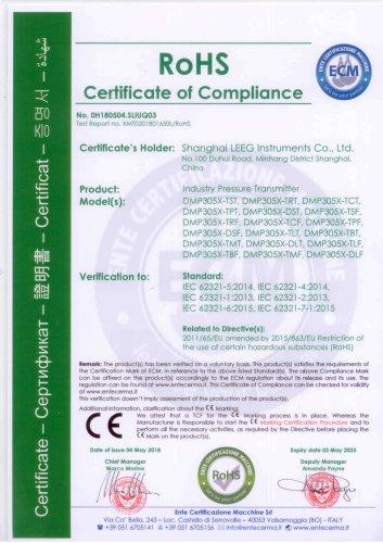 RoHS certificate for DMP305X pressure transmitter