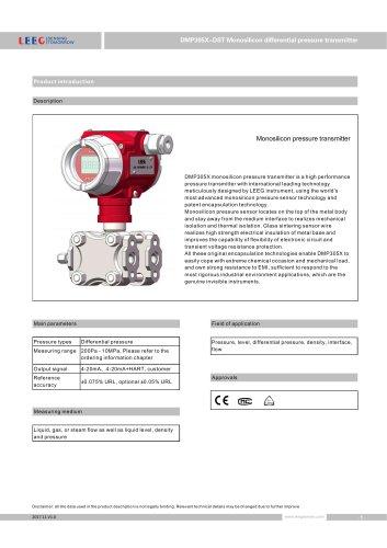 Smart differential pressure transmitter DMP305X-DST