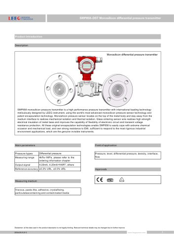 SMP858-DST remote seal differential pressure transmitter