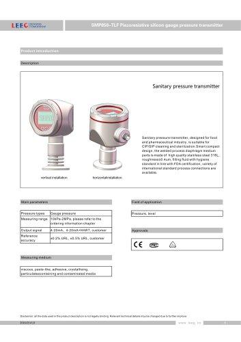 SMP858-TLF Membrane pressure transmitter for hygienic application