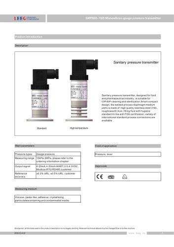 SMP858-TSD-S Hygienic pressure sensor for dairy, beverage, beer datasheet