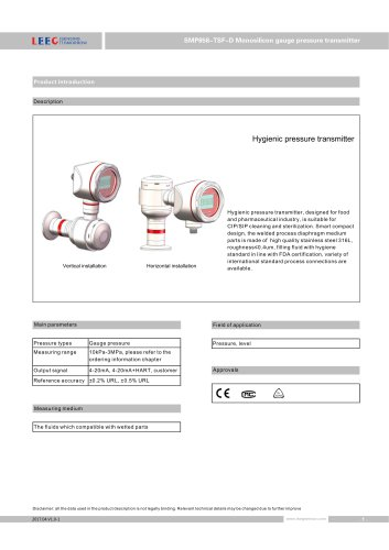 SMP858-TSF-D anti-condensation sanitary pressure transmitter