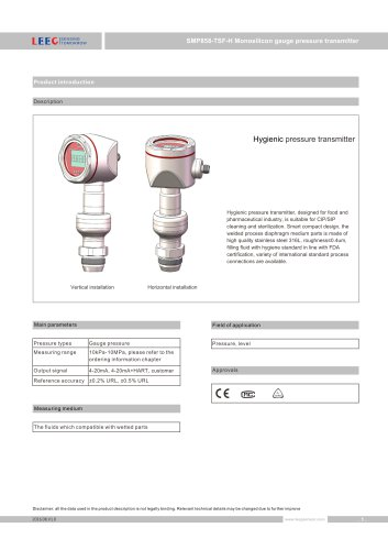 SMP858-TSF-H sanitary level sensor with G1, G1 1/2 connect