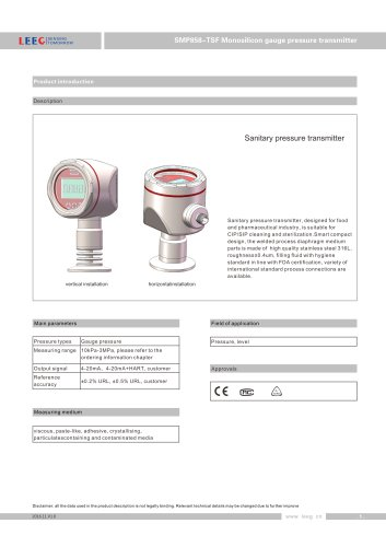 SMP858-TSF-S Pressure transmitter for hygienic area