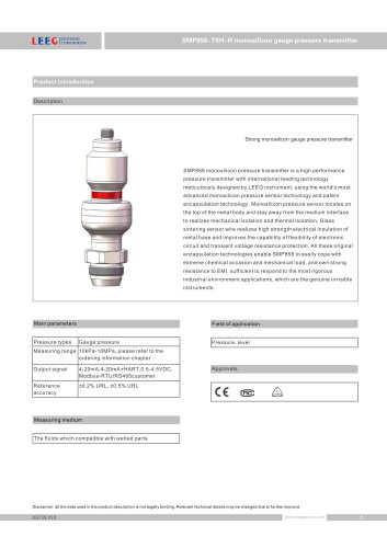 SMP858-TSH-H diaphragm pressure sensor IP67