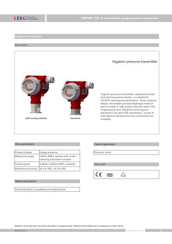 SMP858-TST-S clamp on diaphragm pressure transducer