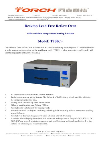 Desktop Reflow Ovven with online Temperature Testing Function T200C+