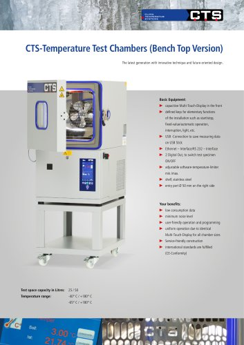 CTS Temperature test chamber Bench Top version