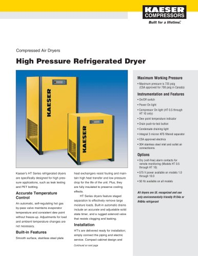 High Pressure Refrigerated Dryers