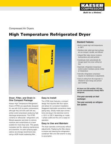 High Temperature Refrigerated Dryers